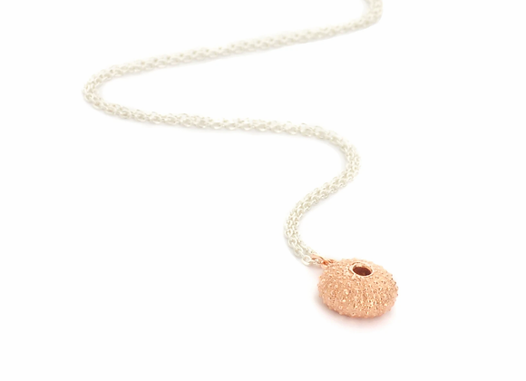 Urchin necklace, Rose Gold on Silver Chain
