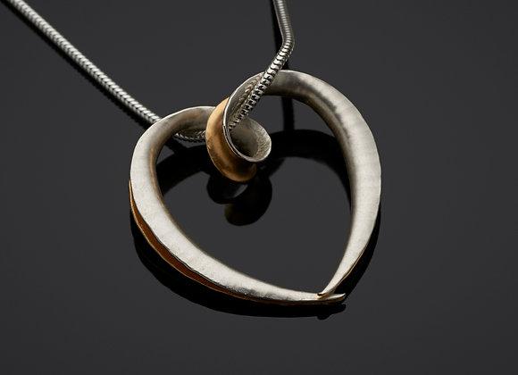 Cornucopia Heart Pendant, Silver and GP