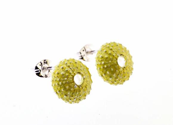 Urchin stud earrings, green enamel