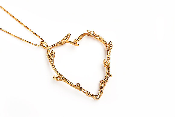 Large Twig Necklace, Gold Plated