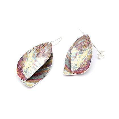 Double Leaf Drop Earrings, Ochre