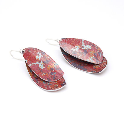 Double Leaf Drop Earrings, Red
