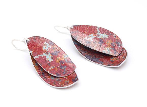 Double Leaf Drop Earrings, Red