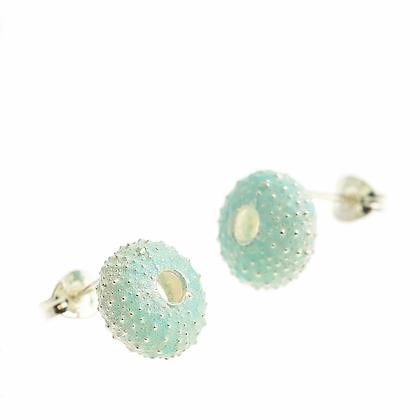 Urchin stud earrings, blue enamel