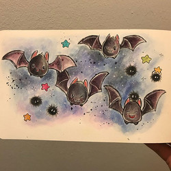 Day 10 of #inktober2017 bat 🦇 I love how they turned out 🖤 #kawaiioctober17 #inktober #timholtzdis