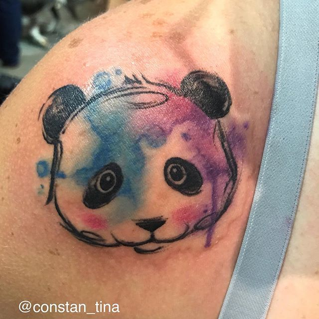 Done at the _tommystattooconvention from my original flash 🐼 #tattoo #pandatattoo #watercolortattoo