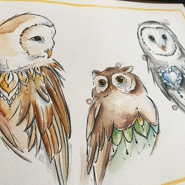 I would love to tattoo one of them or a similar one 🦉 #watercolortattoo #owl #wanttotattoo #waterco