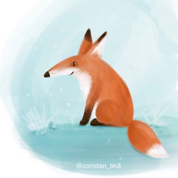 Cute little fox I did on my iPad Pro 💕 🦊 I might make paper stickers and greeting cards, not sure