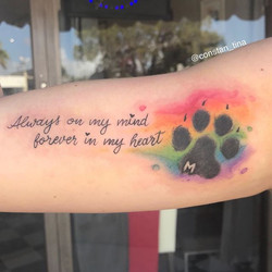 I love how it came out 🐾 🌈 #watercolortattoo #rainbowcolors #rainbow #watercolorpawprint #watercol