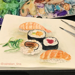 I'm hungry 😕 🍣 Aquarell in my new _hahnemuehle_global sketchbook which I love 💕 #watercolorpainti