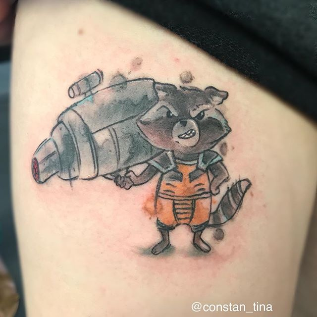 I'm so happy I got to do rocket raccoon aka trash panda from my designs 🤪 #watercolortattoo #rocket