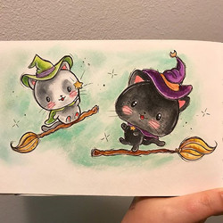 Day 8 of #inktober2017 the word was black cat 😺 #kawaiioctober17 #inktober #blackcat #kawaii #witch