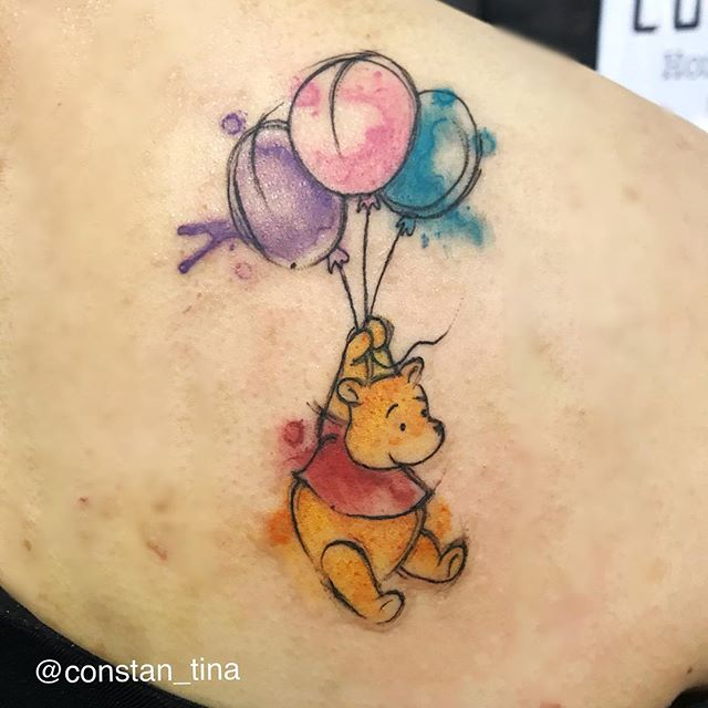 Did this Pooh bear at the Philadelphia Tattoo Convention 🐻 #watercolortattoo #poohbear #poohbeartat
