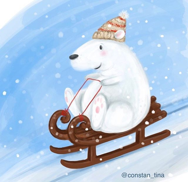 Another winter critter I did on the iPad Pro ❄️ #ipadpro #polarbear #sledding #schlittenfahren #schl