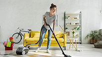 Cleaning the carpet in the stylish livin