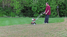 Man in maroon shirt mowering the lawn.jp