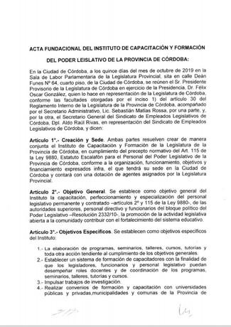 Acta Fundacional del Instituto de Capacitación y Formación del Poder Legislativo de la Provincia de