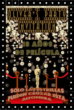 Invitación Fiesta Oliver 18 años. La noche de los oscar's