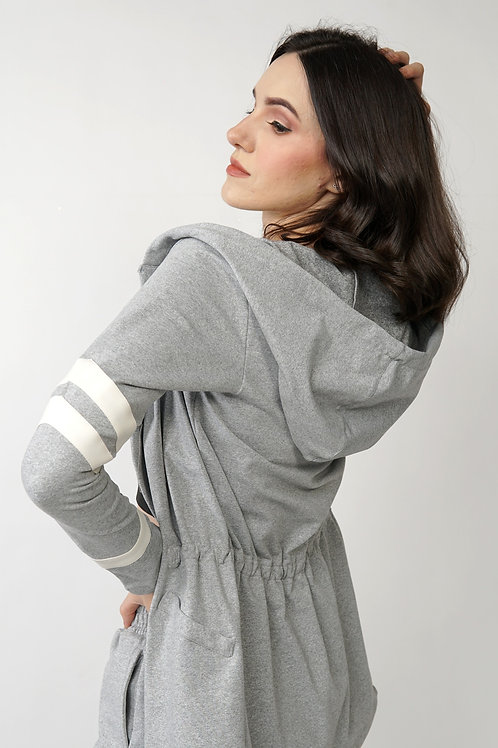 Novus Jacket with Leather Lines in Gray