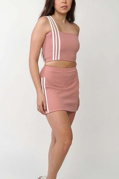 Forma Striped Skirt Set in Pink