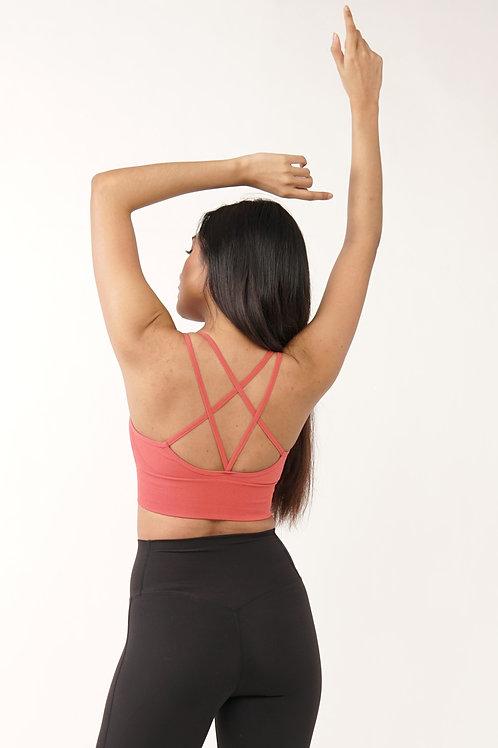Mollis Cross-Back Active Top in Pink