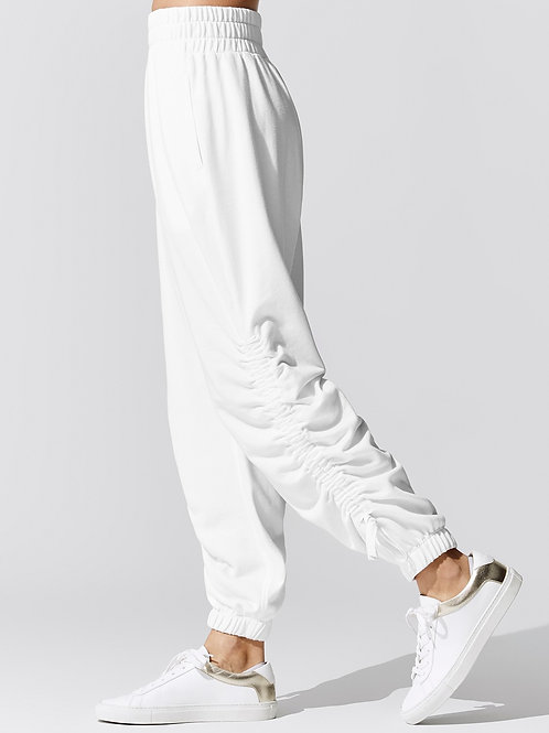 Audax Ruched Jogger Pants in White