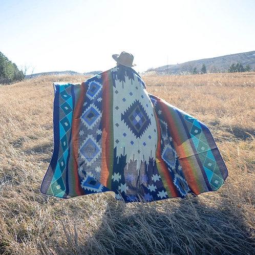 Andean Alpaca Wool Blanket - Ocean Breeze