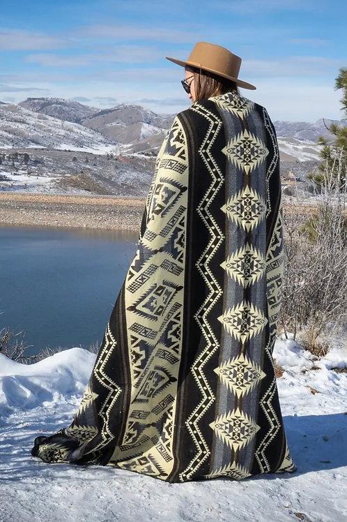 Andean Alpaca Wool Blanket - Slate - Black/Grey/Cream
