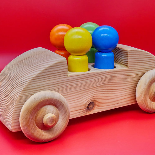 Handcrafted Children's Toy Car with 4 Passengers.