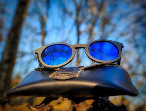 Rivington Recycled Denim - Sunglasses - Leather Pouch