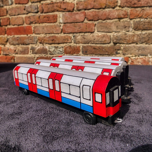 Handcrafted Wooden London Underground Train with 4 Carriages