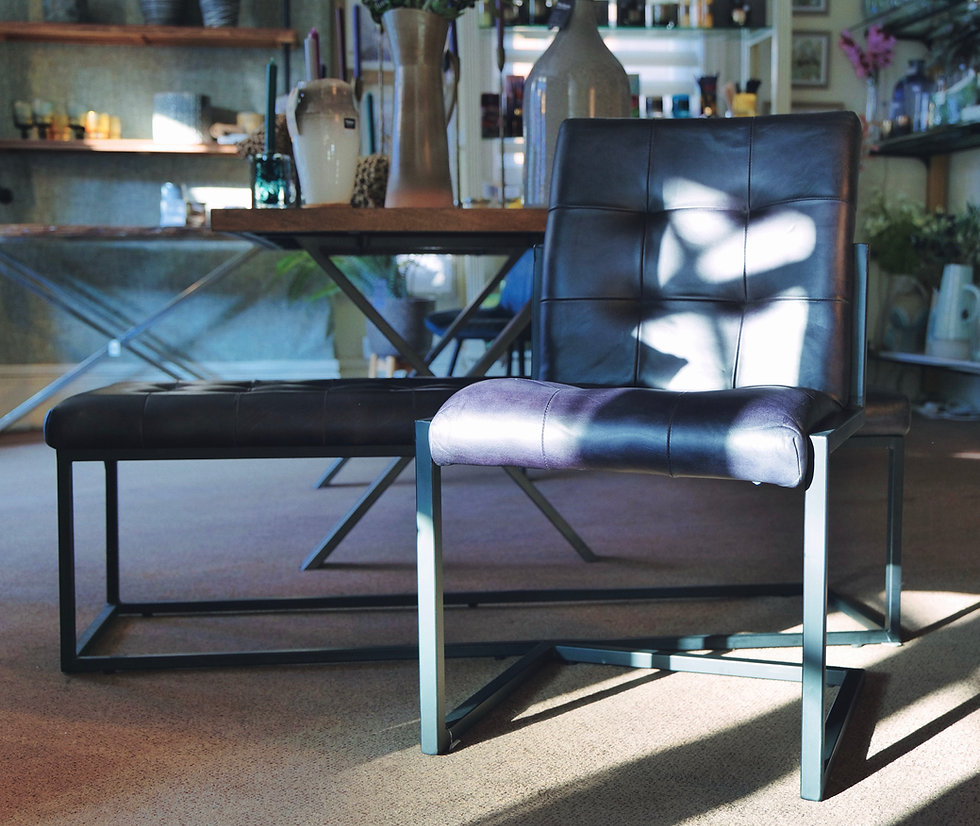 Arlo Steel Grey Leather & Iron Buttoned Chair