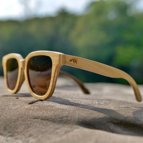Orleans Bamboo Natural Frame Sunglasses - Polarised Amber Lens - JWUK Sept 2021