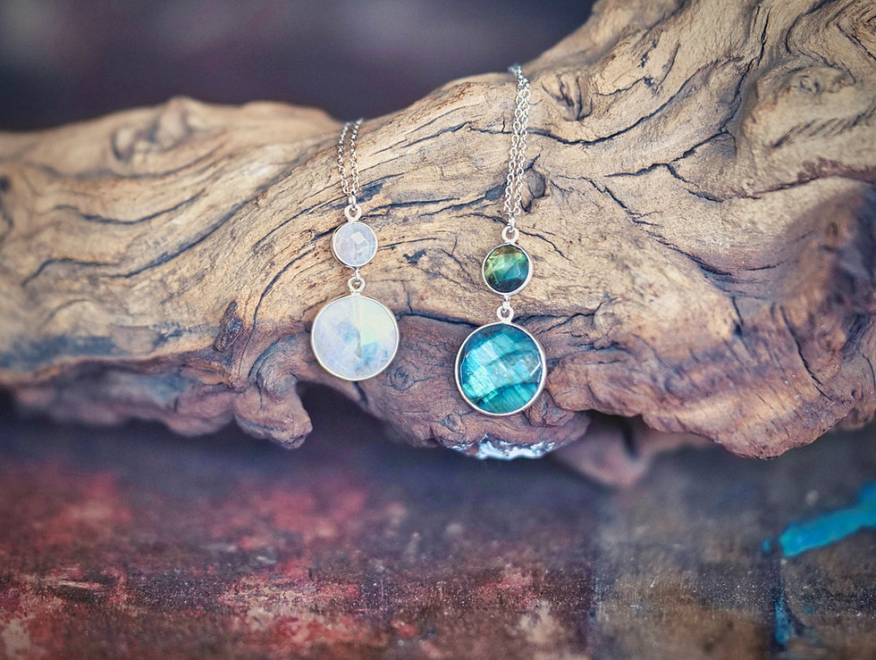 Labradorite Round Faceted Drop Pendant & Chain & Moonstone Round Faceted Drop Pendant & Chain Neckalces for Sale at Cavills Furnishings Uckfield.
