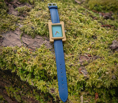 Coral Blue Face Unisex Bamboo Watch - JW