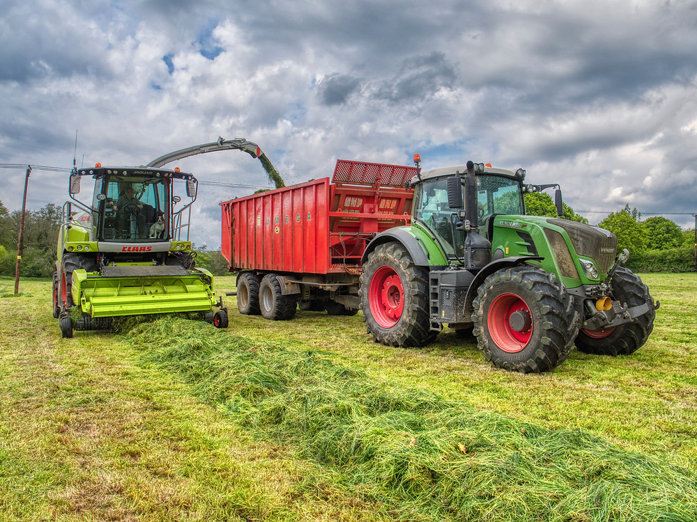 Forage Harvester unloading into a tractor and trailer.