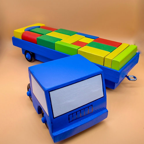 Handcrafted Children's Articulated Lorry with Wooden Brick Cargo.