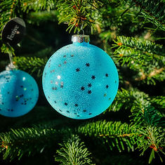 Festive Blue Glass Bauble - Comprerssed