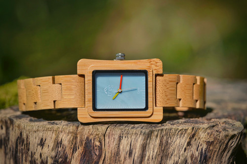 Coral Blue Face Unisex Moso Bamboo Watch