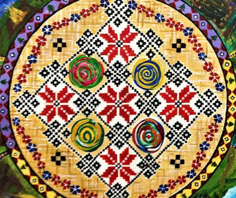 Broderie tradiționala românească în combinație cu vortexuri de culori