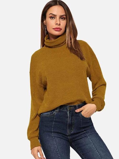 Sweater Cuello Alto Ocre