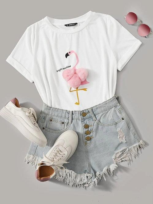 T-Shirt Flamingo Pom Pom