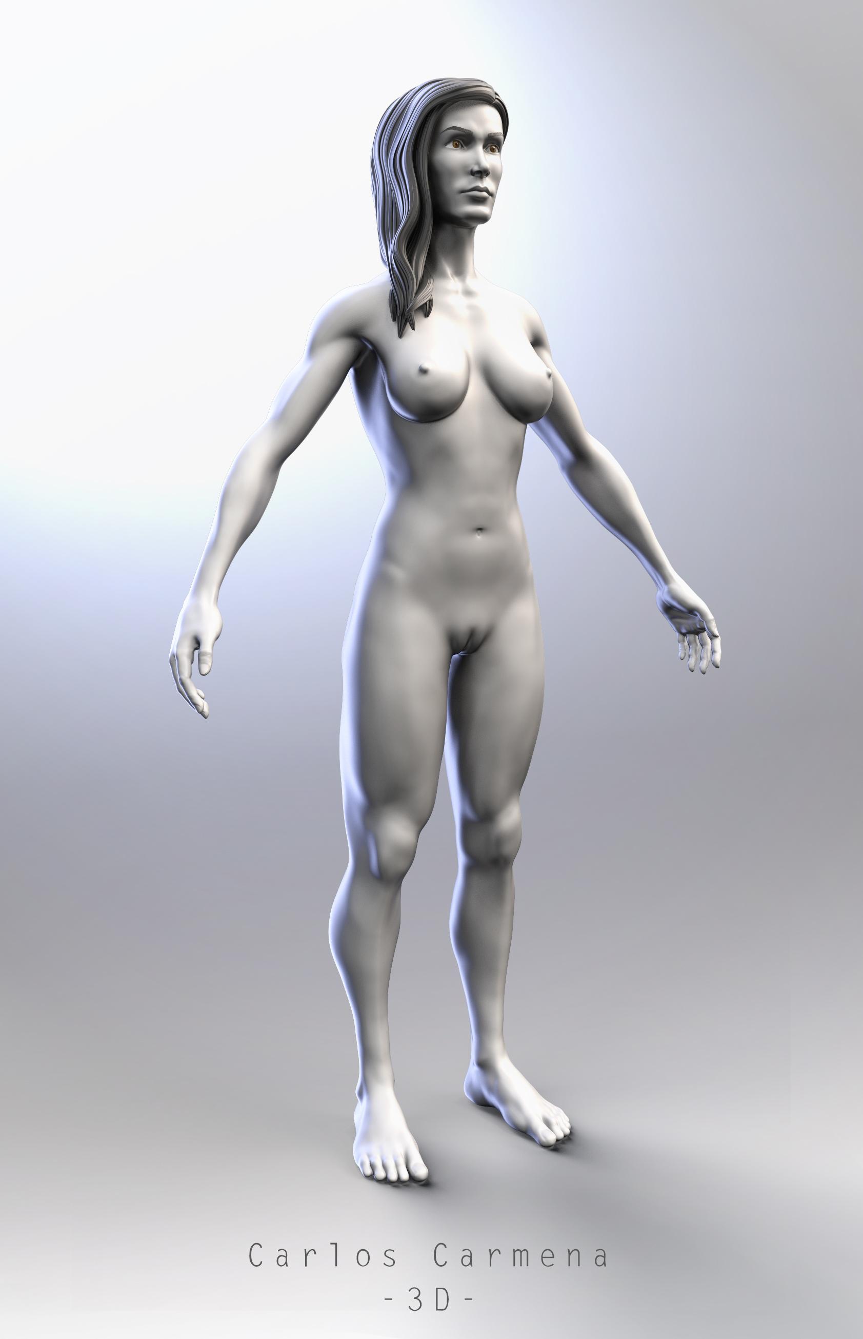 Base anatómica femenina, render.