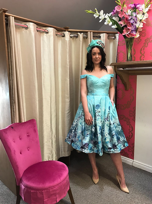 'Feeling blue' floral and tulle Bardot swing dress