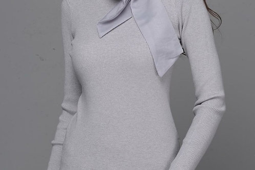 Bow ribbed  jumper