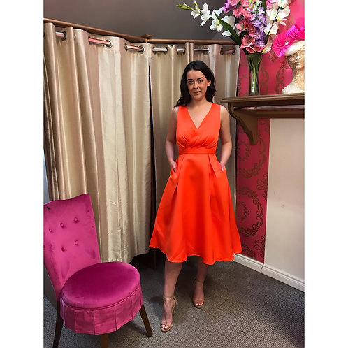 Neon orange Satin and Lace swing with halter neck