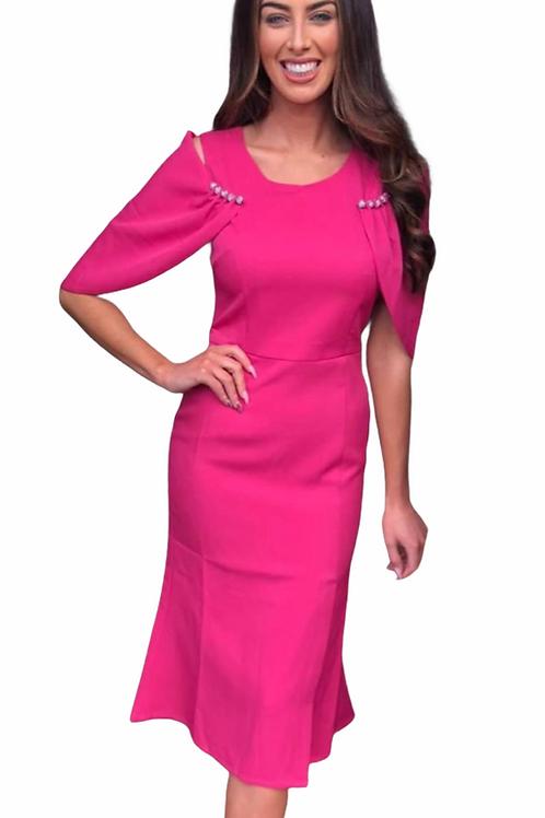 Raspberry cape sleeve dress