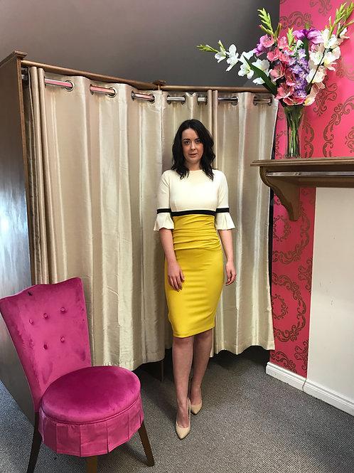 'Diva' mustard vanilla and black fitted dress