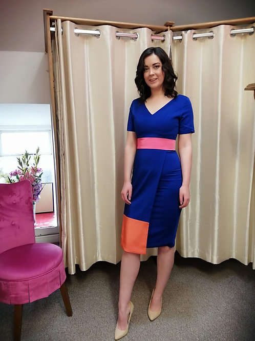 Royal colour block dress
