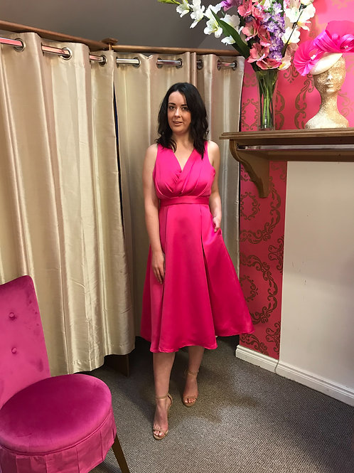 Cerise Pink satin and lace halter dress with pockets